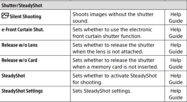 Sony SteadyShot Menu In Manual